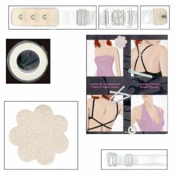 Accessoires SG :réglage dos-nu, rouleau adhésif, protège mamelons