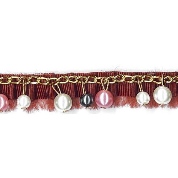 Galon chaîne perlé passementerie   15mm