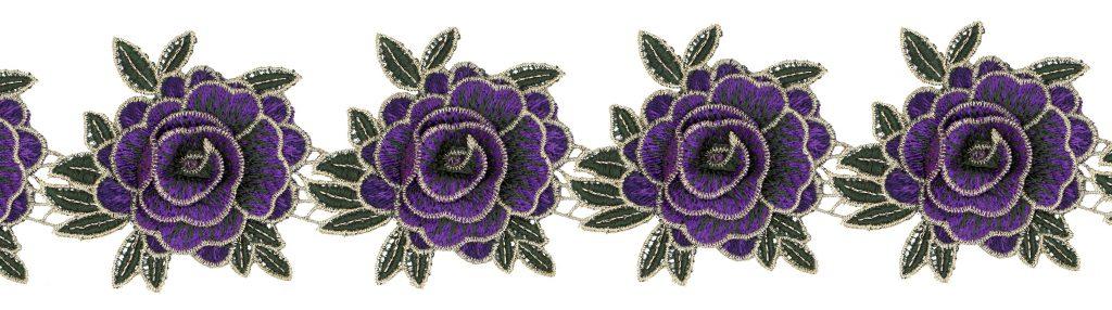 Galon fleurs brodé lurex  80mm