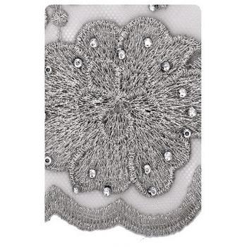 Dentelle nylon fil métallisé et strass   150mm