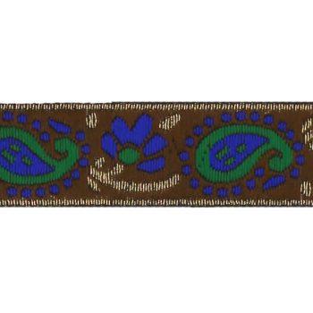 Galon motif cachemire  métallisé  25mm