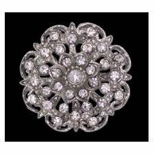Bouton métal & cristal