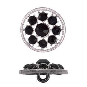Boutons à pied métal & cristal   15mm à 28mm