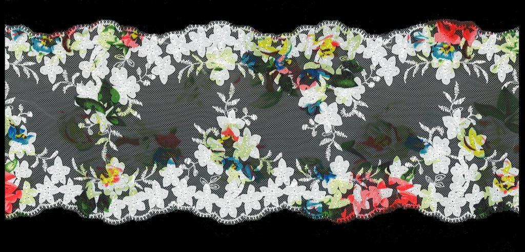 Dentelle nylon entre deux, fleur coloré  130mm