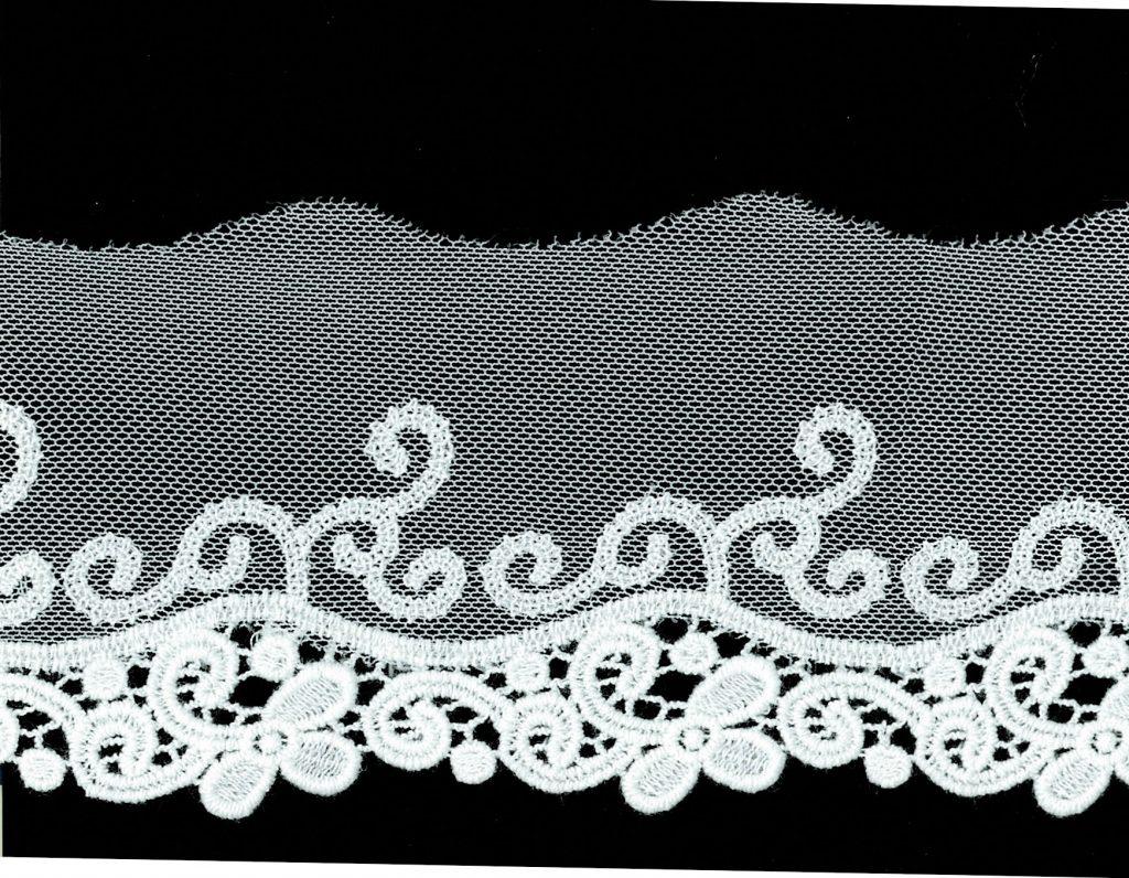 Dentelle tulle nylon + fleur guipure coton   50mm à 55mm