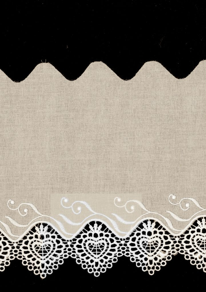 Broderie anglaise coton avec guipure coeur 80mm
