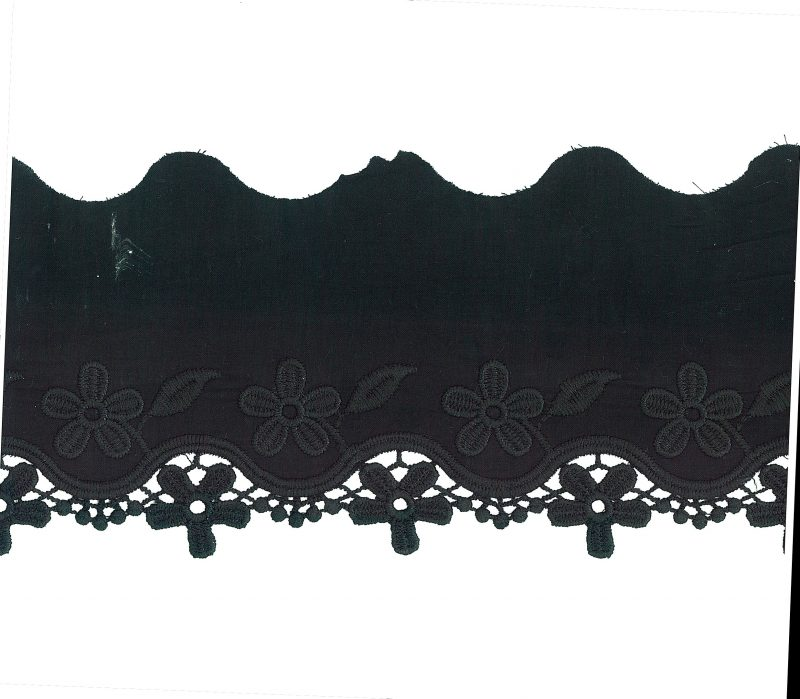 Broderie anglaise coton avec guipure fleur     50mm à 113mm