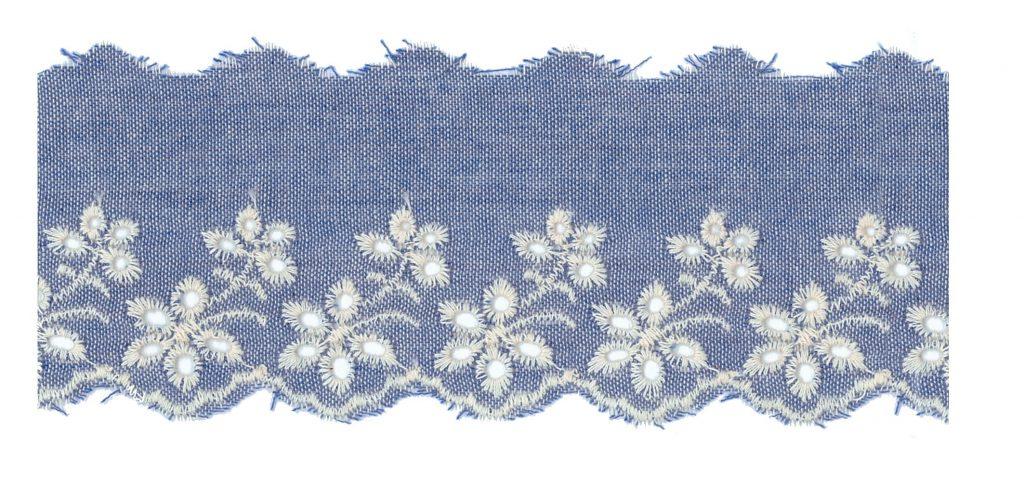Broderie anglaise jean de coton  65mm