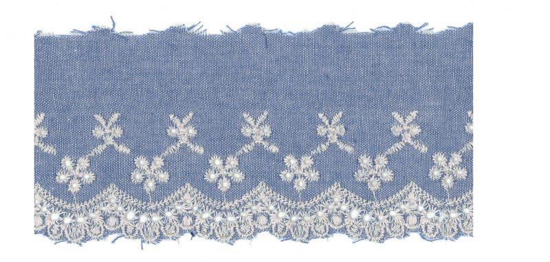 Broderie anglaise jean de coton  80mm