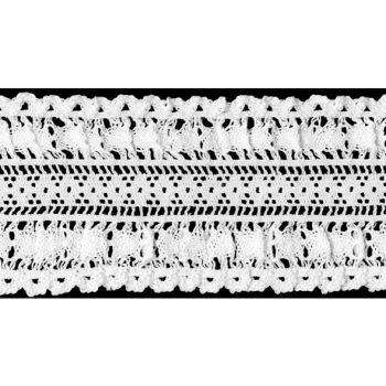 Dentelle au fuseau elastique coton    60mm