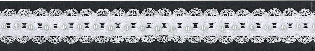 Galon élastique dentelle & perles 25mm