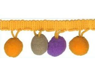 Galon pompons multicolor   25mm