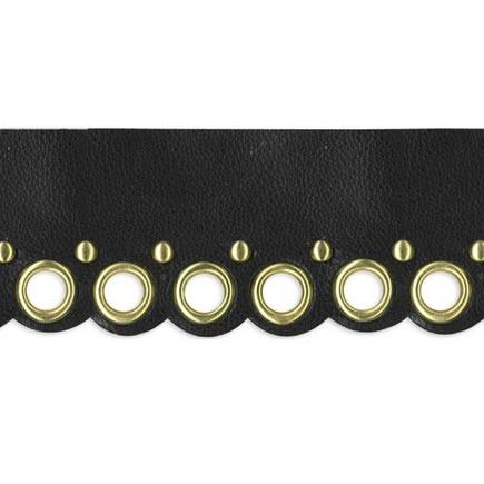 Galon imitation cuir et anneaux métal    35mm