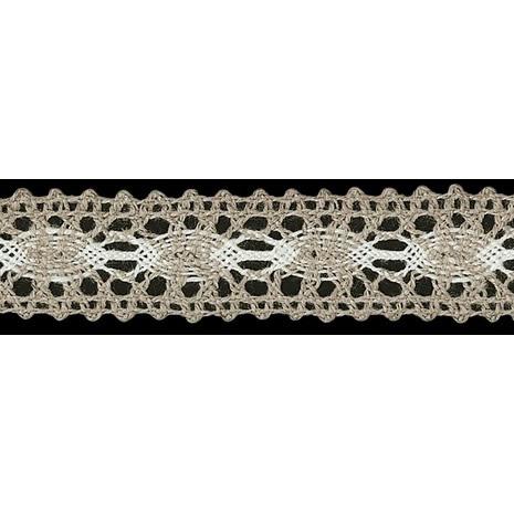 Dentelle entre deux coton lin   22mm