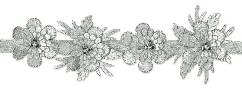 Galon fleur simili et rocaille 50mm
