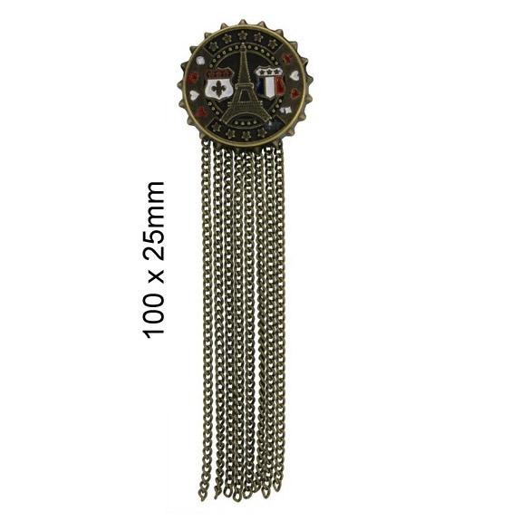 Broche métal tour eiffel avec franges