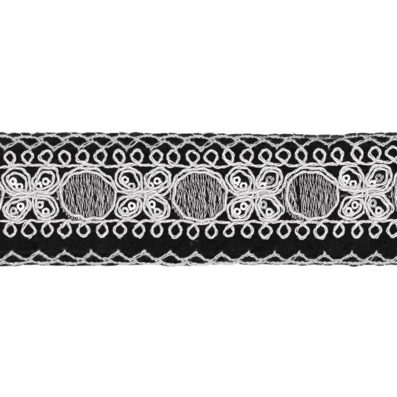 Galon brodé métallisé avec sequins    50mm