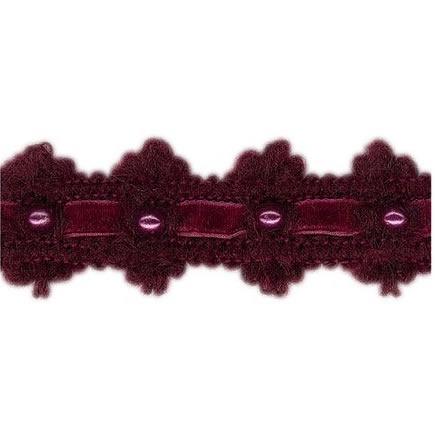 Galon passementerie laine velours et perles    30mm