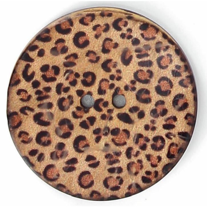 Bouton 2 trous coco imprimé panthere 22mm à 40mm