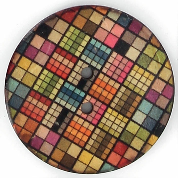 Bouton 2 trous coco imprimé damier multicolor 30mm à 40mm
