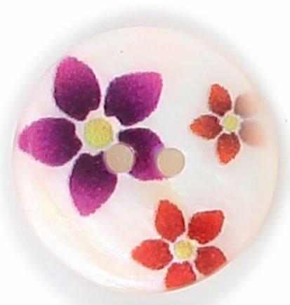 Bouton 2 trous nacre imprimé fleur  15mm à 25mm