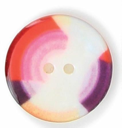 Bouton 2 trous nacre imprimé 3 couleurs 15mm à 25mm