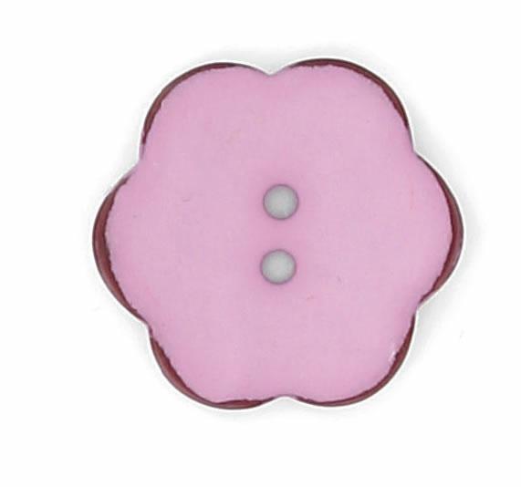 Bouton 2 trous fleur nacre vernis mat bord marron 15mm à 25mm