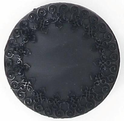 Bouton à pied noir dentelle sur bord  15mm à 27mm