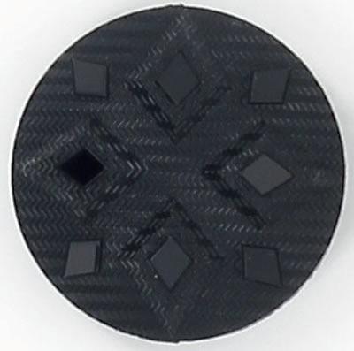 Boutons à pied noir facon jais losange  15mm à 27mm