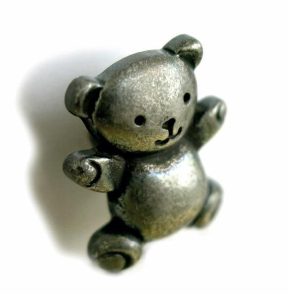 Boutons enfant ours v. argent 18mm
