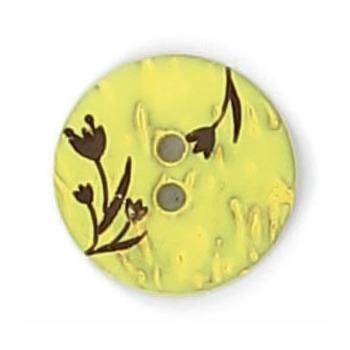 Bouton 2 trous coco gravé laser fleur 12mm à 15mm