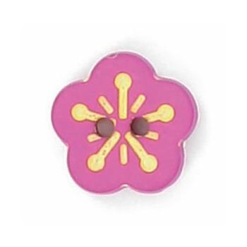 Boutons enfant fleur fuchsia et jaune 12mm