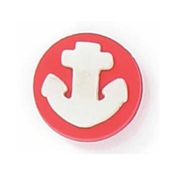 Boutons enfant ancre rouge et blanche  12mm
