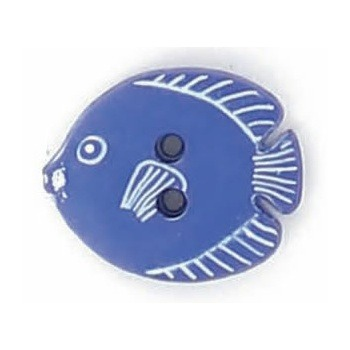Boutons enfant poisson roy / blanc  15mm