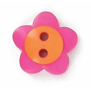 Boutons enfant fleur fuschia et orange.  15mm