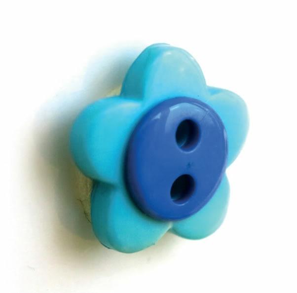Boutons enfant fleur turquoise et bleu roy.  15mm