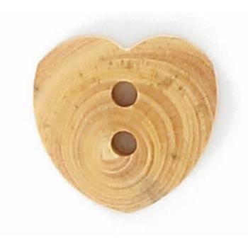 Boutons fantaisies bois coeur 2 trous bois 15mm