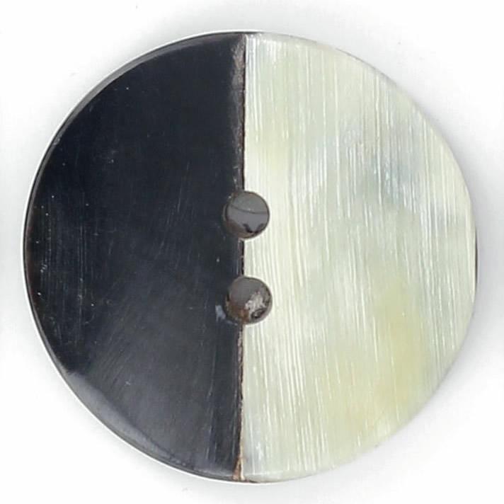 Bouton 2 trous pion corne bicolor naturel et noir 45mm à 40mm