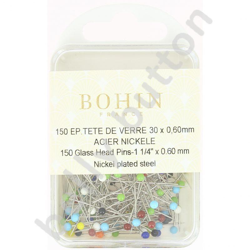 Epingle tête verre boîte m7 mps150 coloris assortis