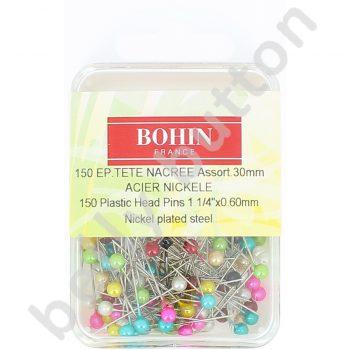 Epingles tête nacrée mps 150 couleur assorties