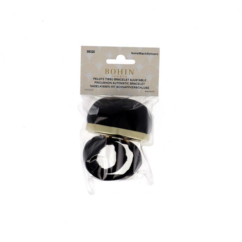 Pelote tissu noire-bracelet ajustable
