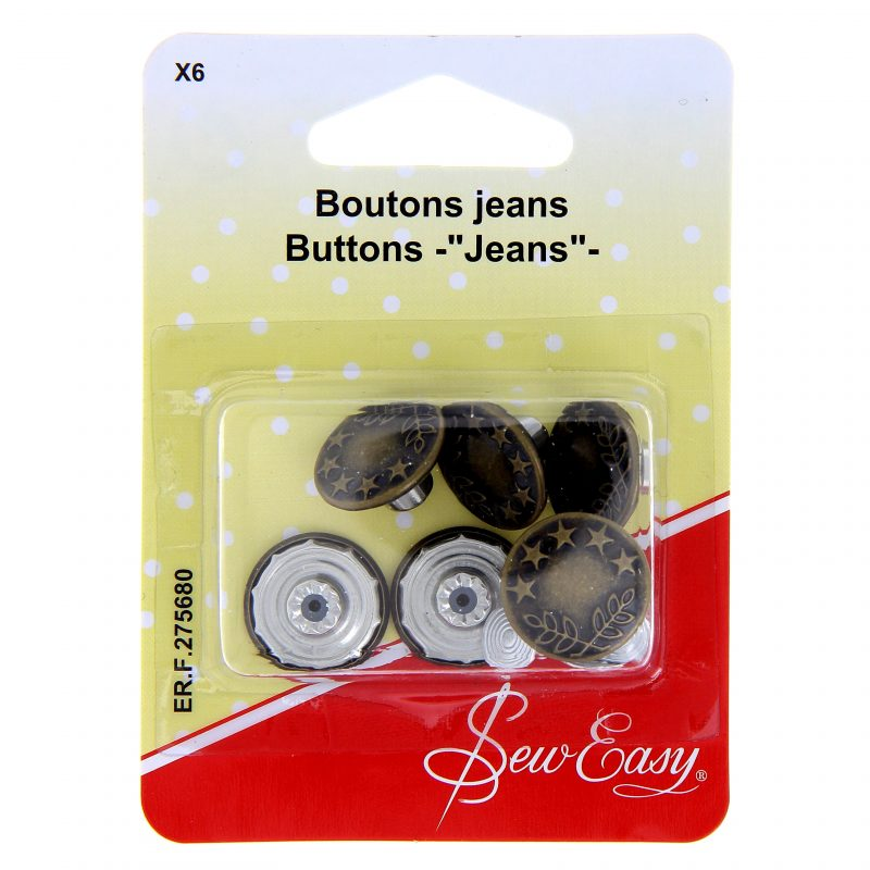 Boutons jeans x 6