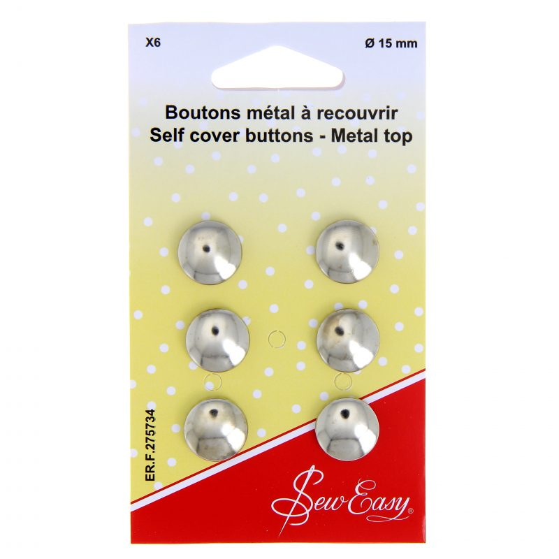 Boutons metal a recouvrir 15mm x 6