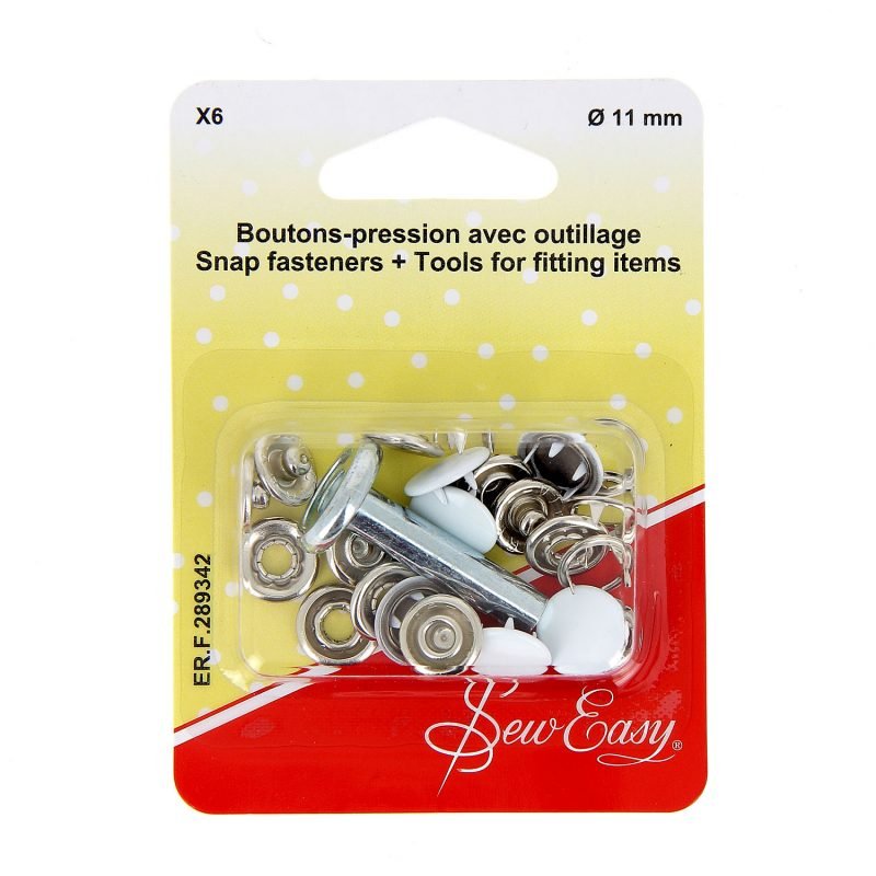 Boutons-pression x6 ?? - blanc -11 mm+ outillage