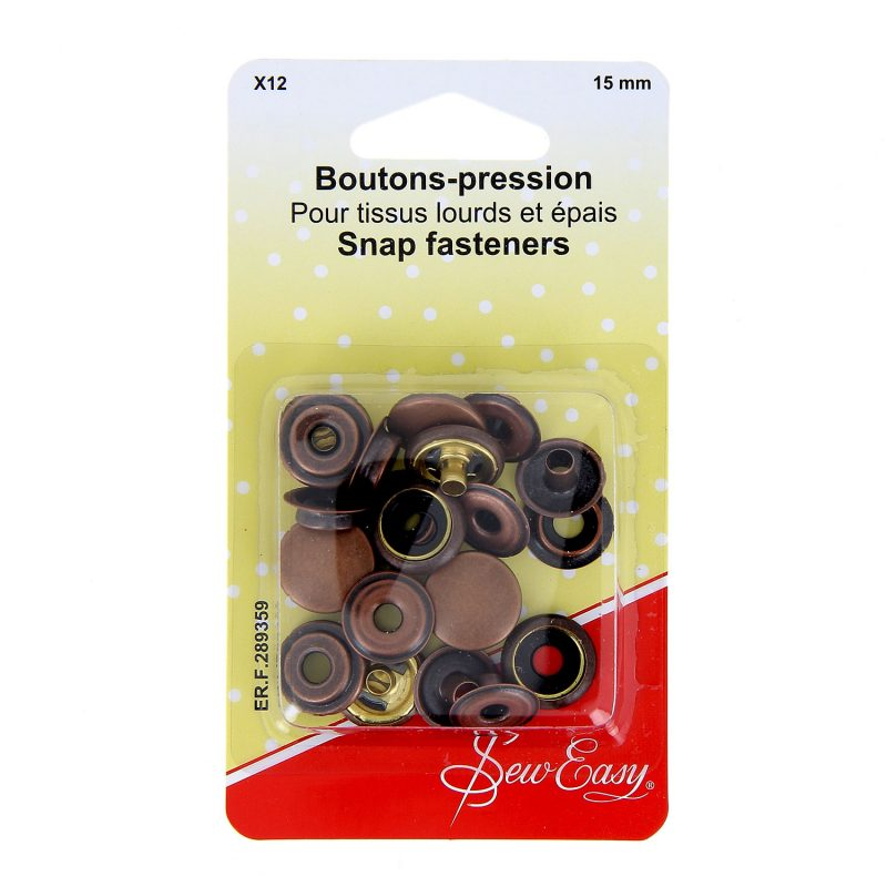 Boutons-pression  x12 - bronze -15 mm