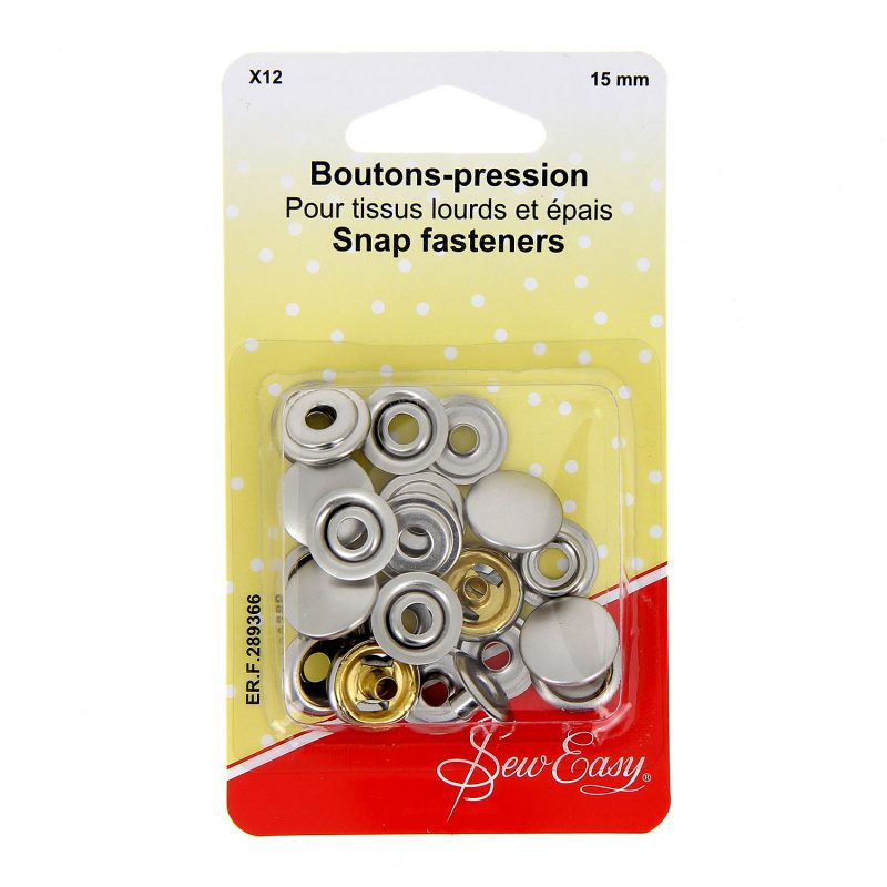 Boutons-pression  x12 - nicklel - 15 mm