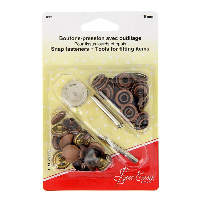 Boutons-pression  x12 15 mm -bronze-avec outillage