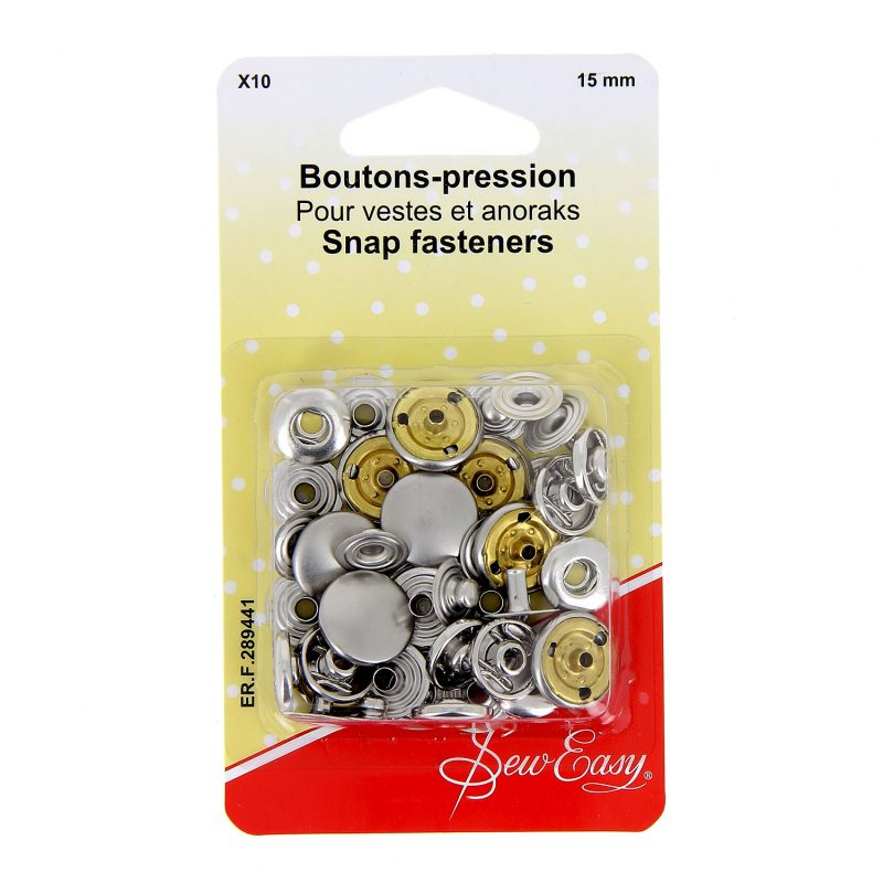 Boutons-pression  x10 15 mm - nickel??