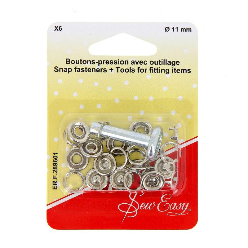 Boutons-pression avec outillage x6 Ø 11 mm - argen