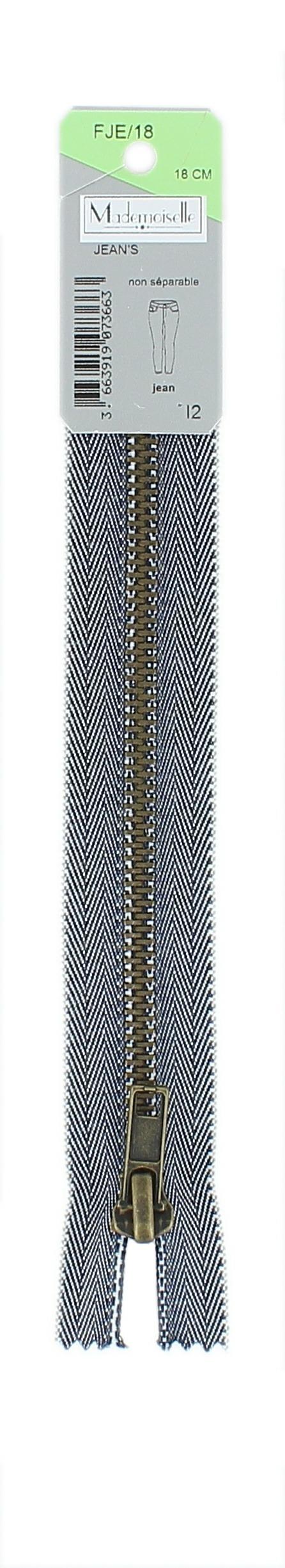 <strong>Fermeture jean 6mm</strong> non séparable 5cm à 20cm